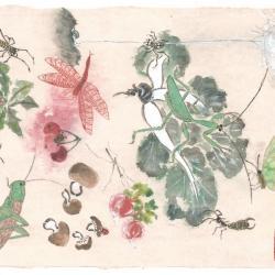 A la recherche des 13 insectes peinture miniature en gong bi