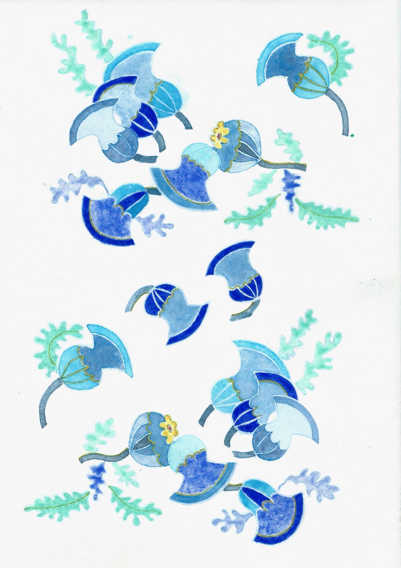 Algues et anemones de mer style retro envoi 2017