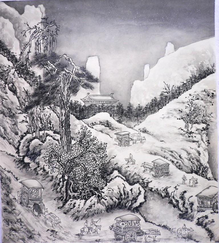 Caravane dans la neige