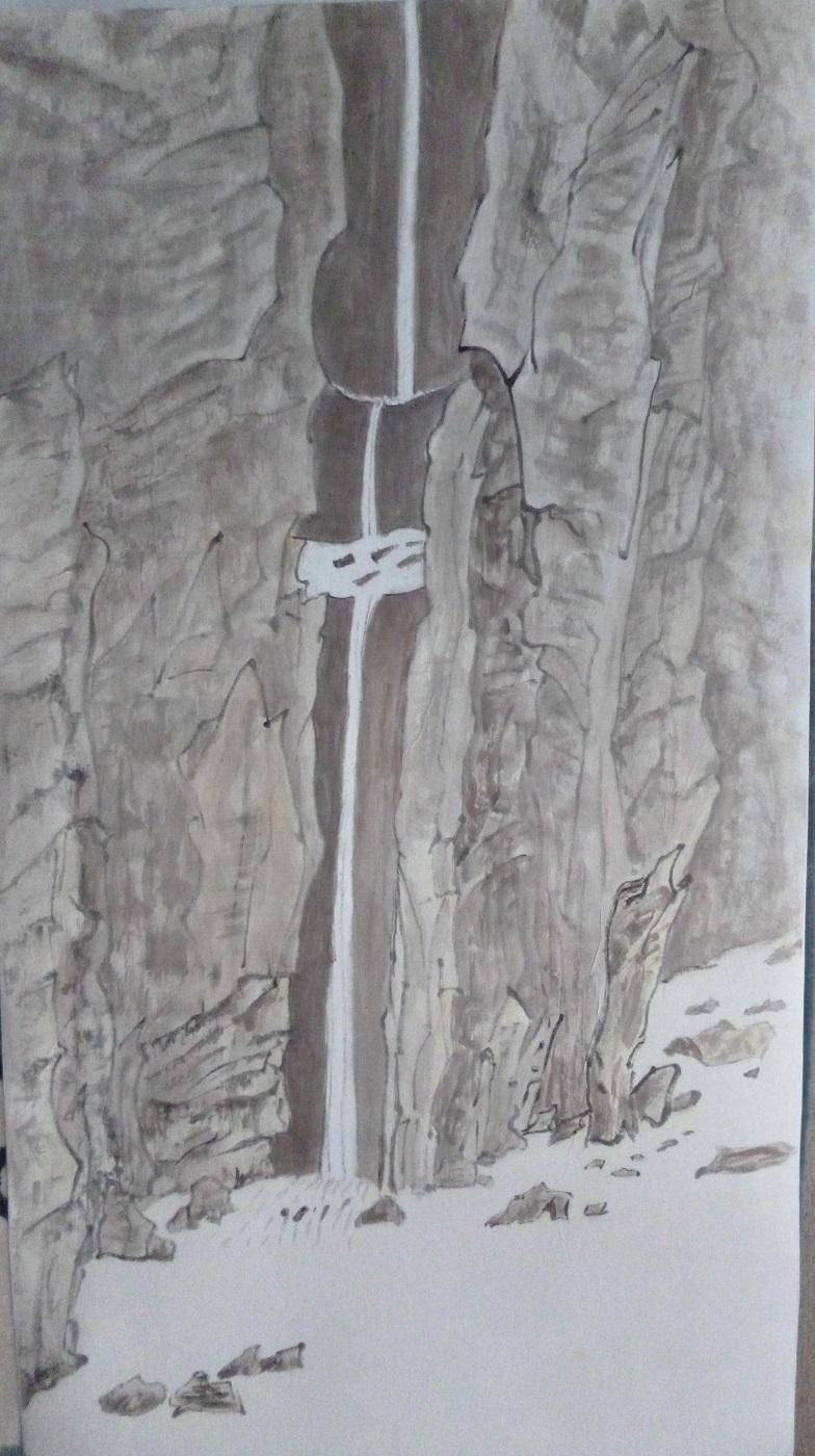 Cascade sur papier Washi