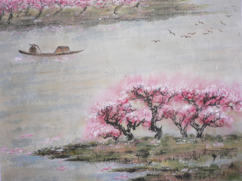 Cerisiers en fleurs technique spontanee xie yi