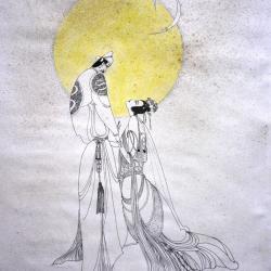 Couple chinois sous la lune plume encre