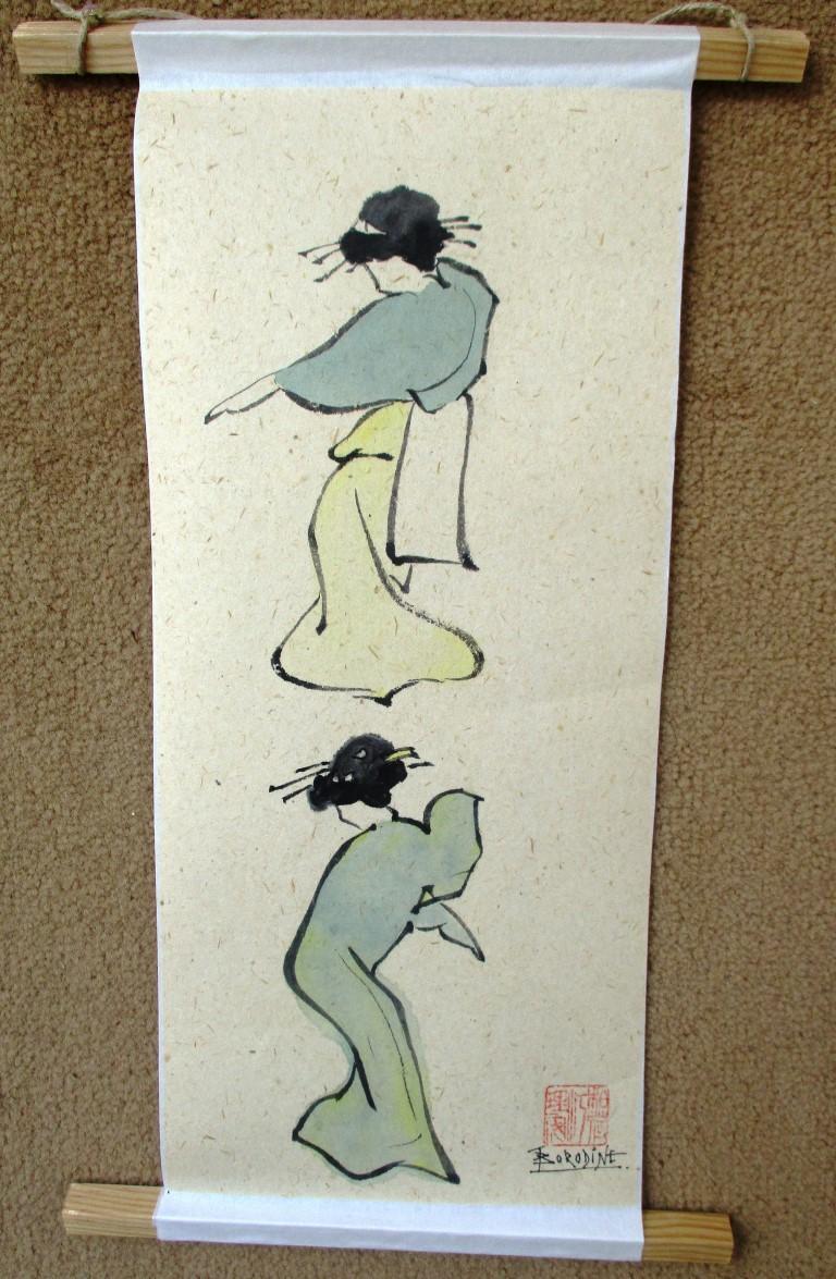 Danseuses d apre s hokusai sur papier washi japonais a fibre ve ge tale