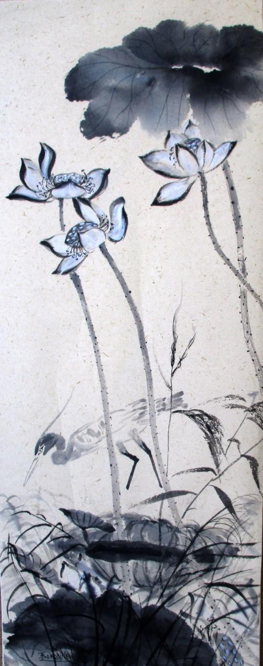 Echassier sous les lotus papier washi japonais a fibre ve ge tale