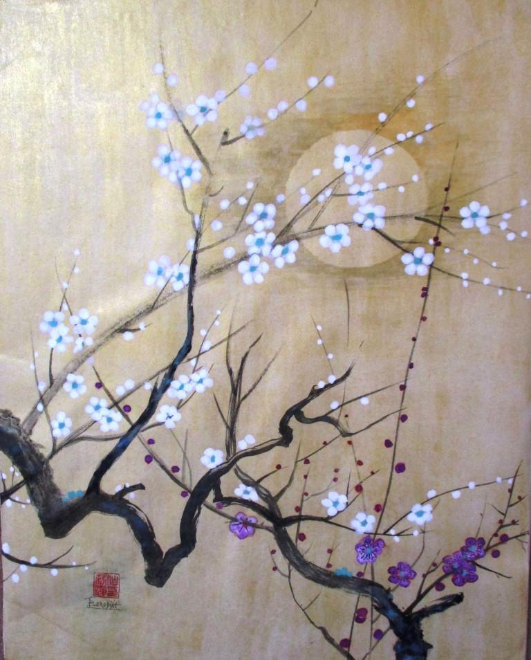 Ecole rinpa du japon fleurs sur fond or en poudre