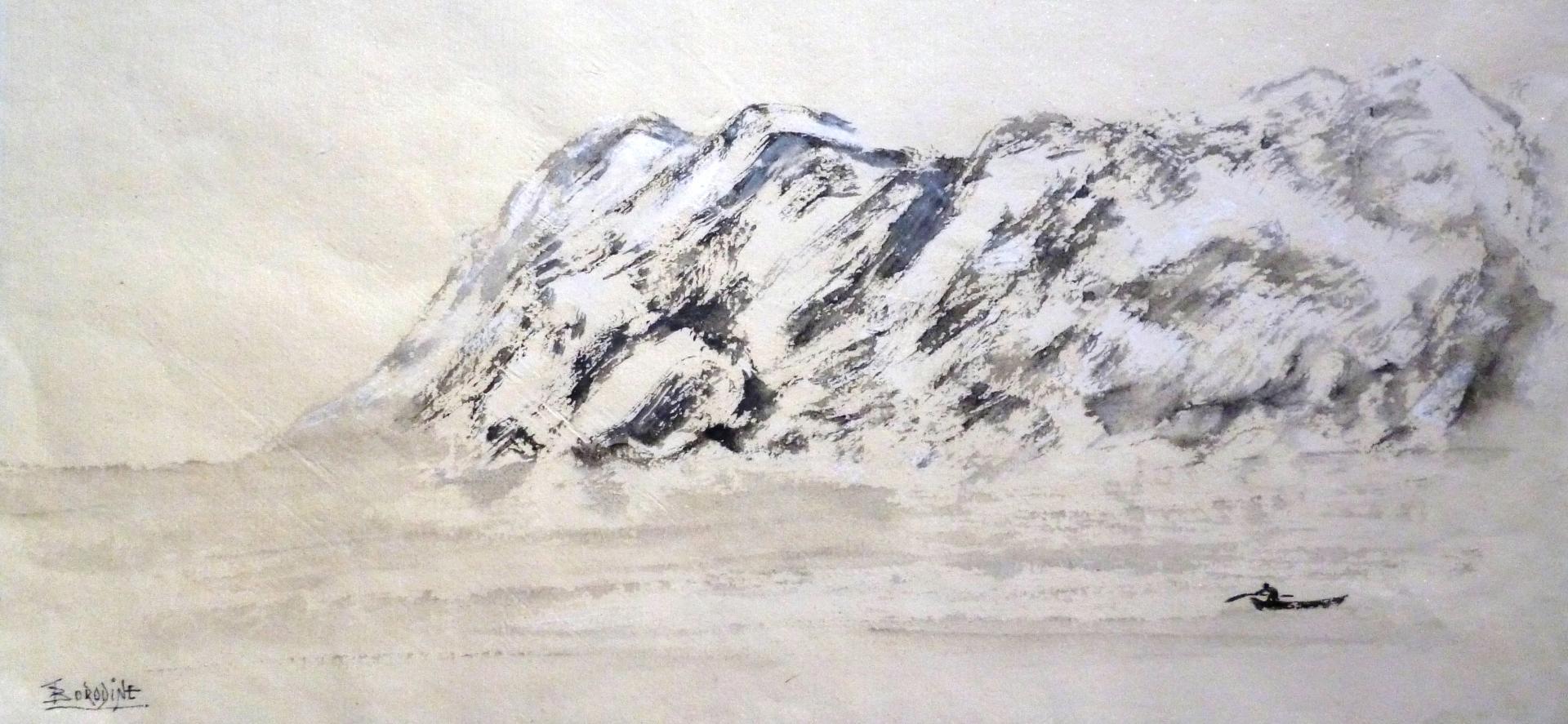 Etude de rides encre et pigments poudre blanc papier non absorbant