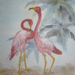 Flamingo sous les palmiers sur papier du Vietnam