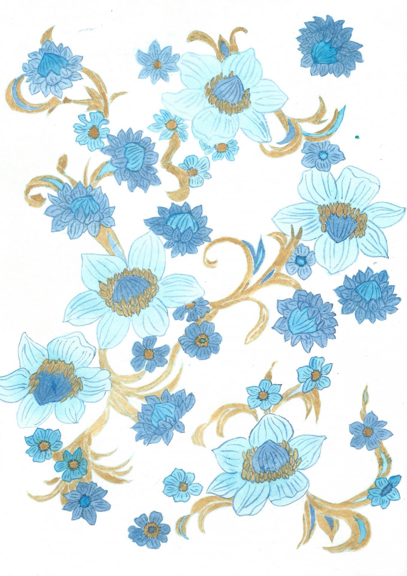 Fleurs bleues pistilsor