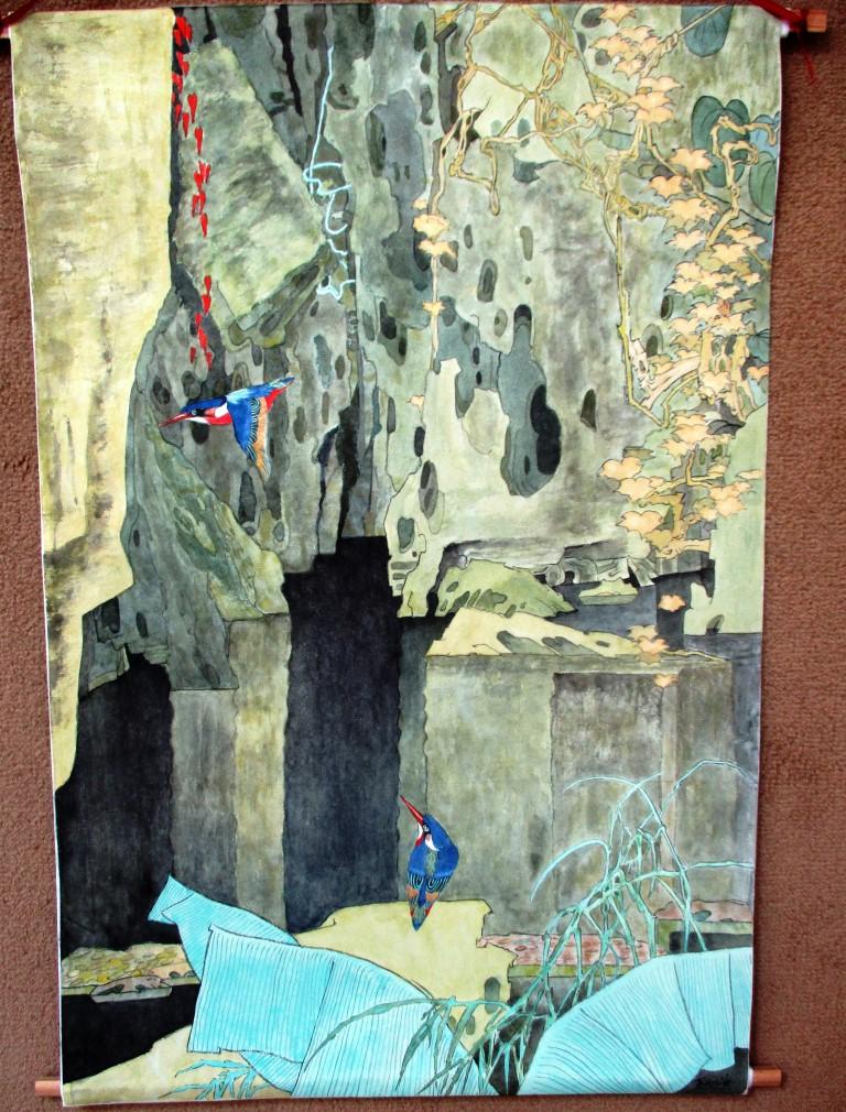Grottes oniriques feuilles or totalite tableau