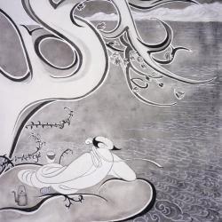 Li Bai buvant sous la lune