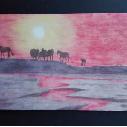 M.Le Strat-Coucher de soleil-Lac Sayram au Xinjiang(RPC)