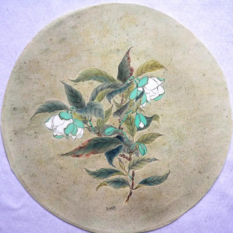 Magnolias sur fond or