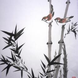 Moineaux dans les bambous