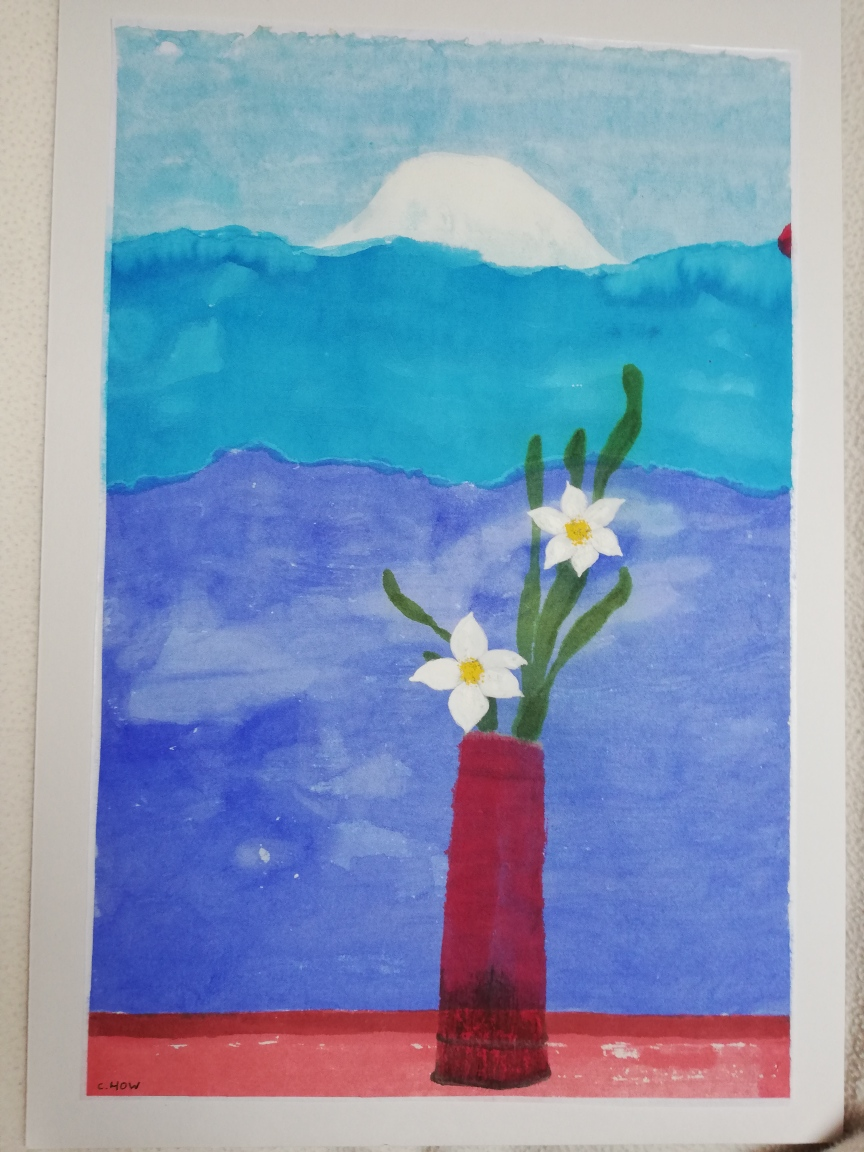 Mont fuji et narcisses d apres david hockney corinne howlett