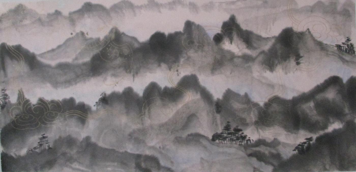 Montagnes de Taroko Taiwan sur papier fileté or aux chauve-souris