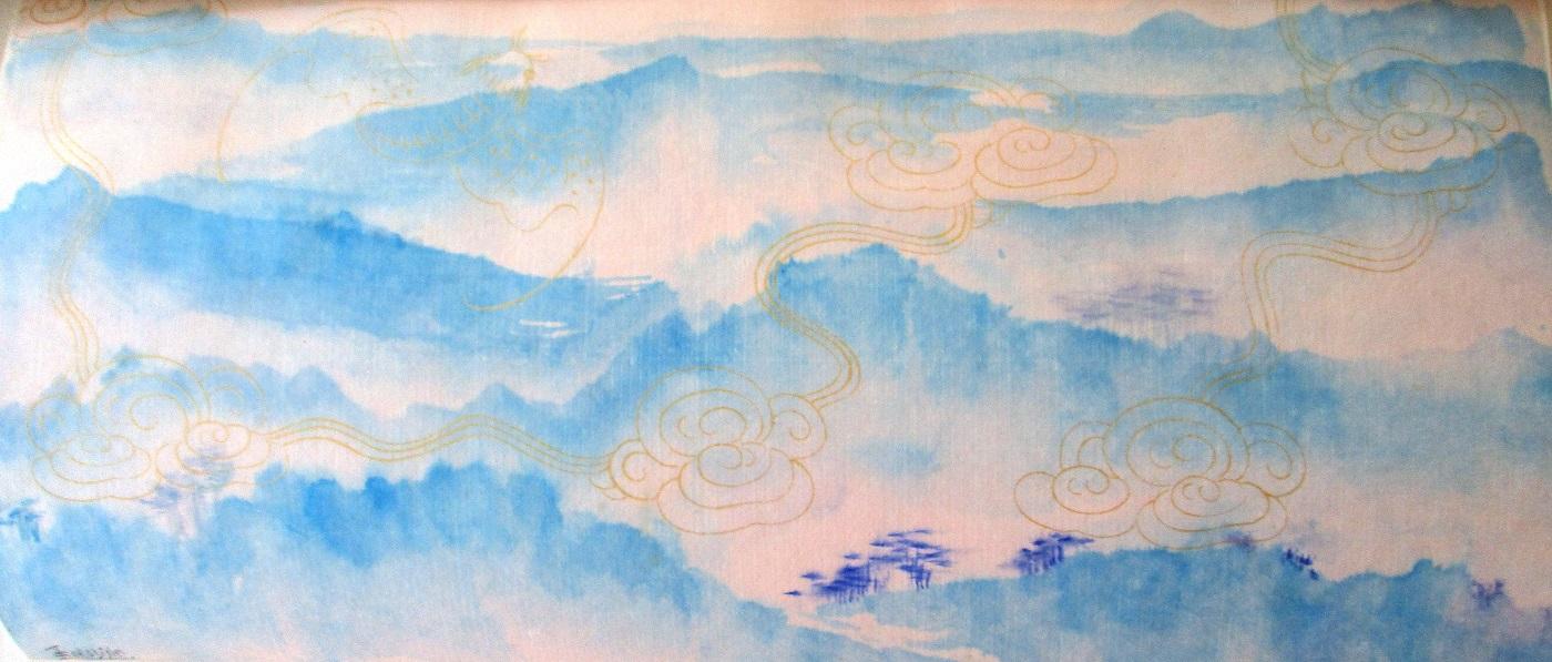 Montagnes taiwanaises : papier fileté or chauve-souris