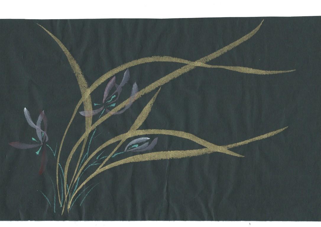 Orchidées feuilles d'or
