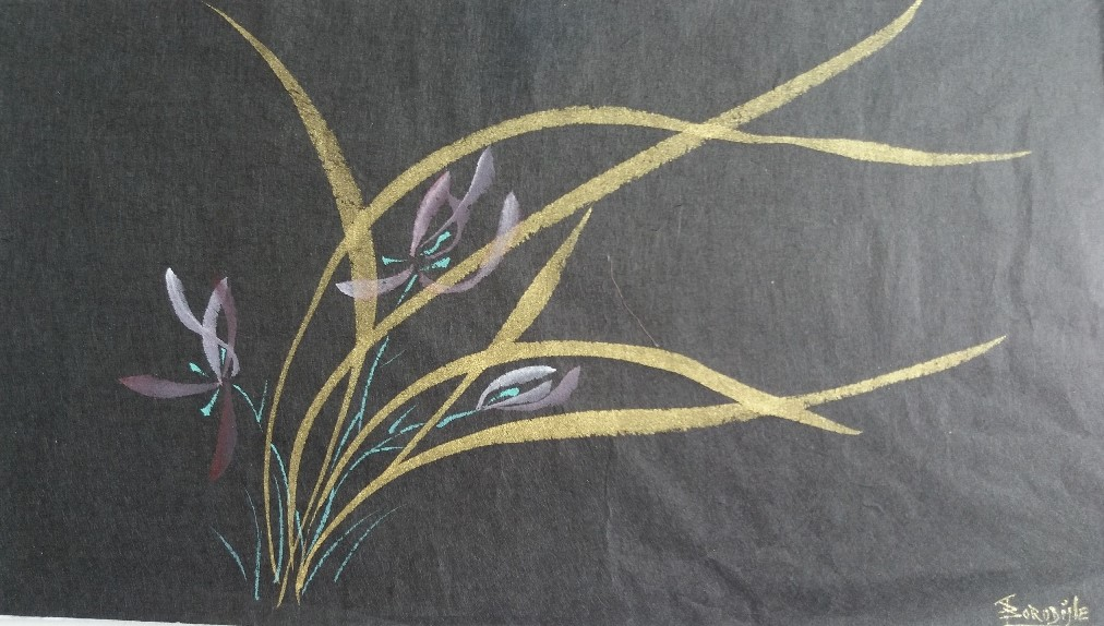 Orchidées Or papier Hanji 2