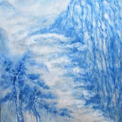 Paysage de Chine en camaieu de bleu