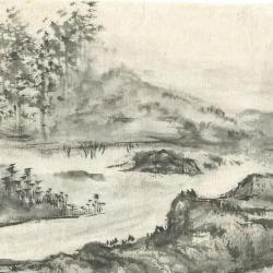 Paysage monochrome en emakimono