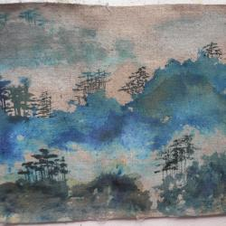 Paysage taiwanais sur toile de lin