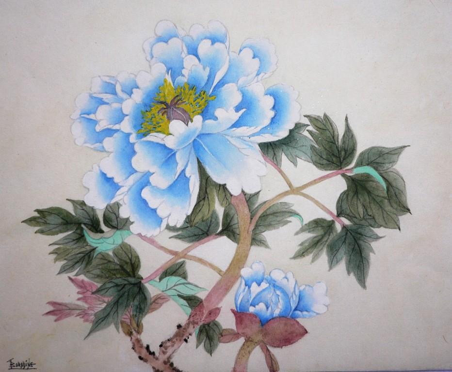 Pivoine bleue en technique gong bi