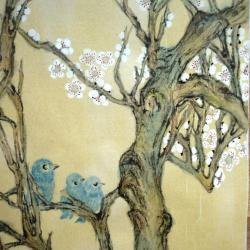 Prunus et oiseaux bleus Karima Desmazieres