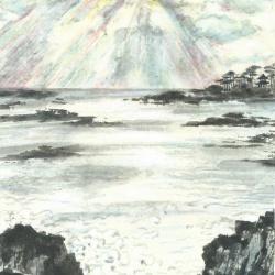 Rayons du soleil sur l'ocean
