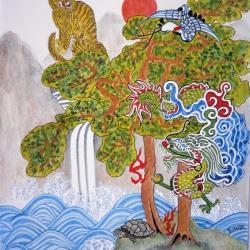 Tableau couverture livre symbolique dans la peinture asiatique